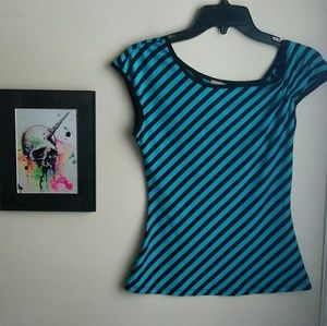 Truelight Blue and Black Striped Top